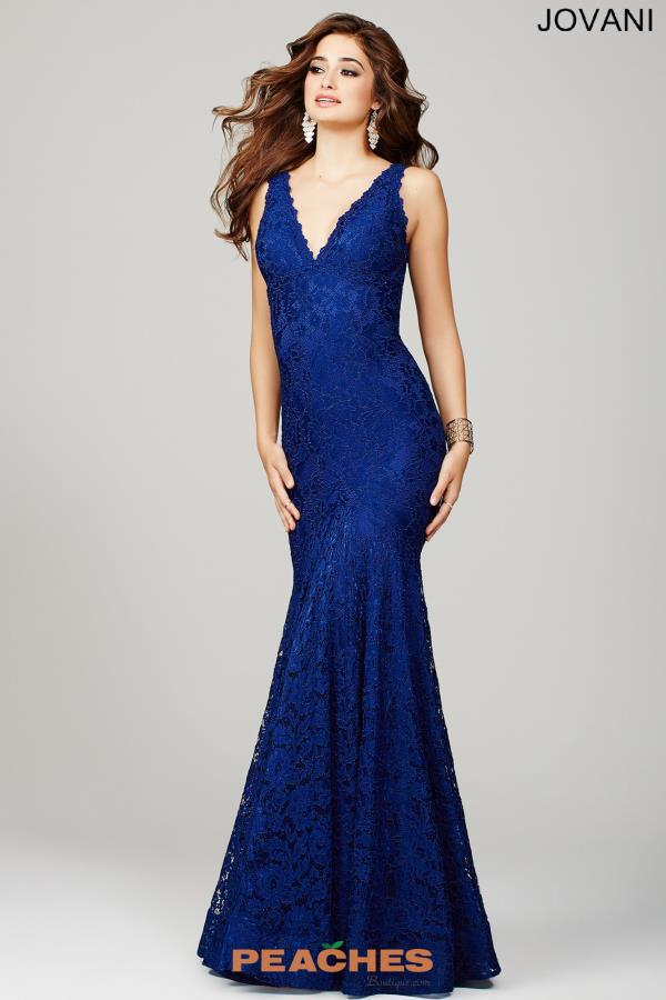 Jovani Navy Lace Formal Occasion Dress 33050