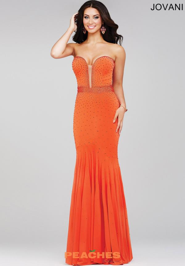 Jovani Beaded Jersey Orange Dress 33058
