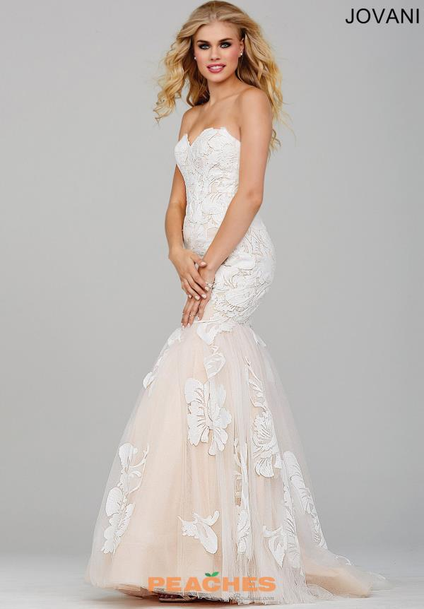 Jovani Sweetheart Ivory Applique Dress 33531