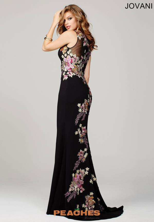 Black Floral Print Jovani Dress 33679