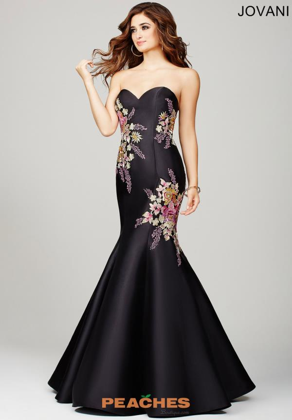 Black Jovani Floral Applique Dress 33689