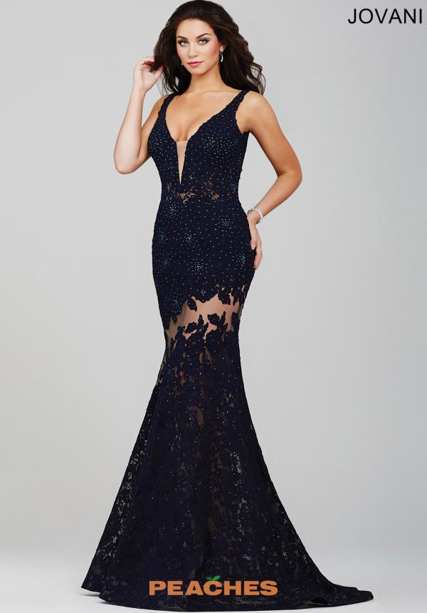 Fitted Navy Celebrity Jovani Dress 36074