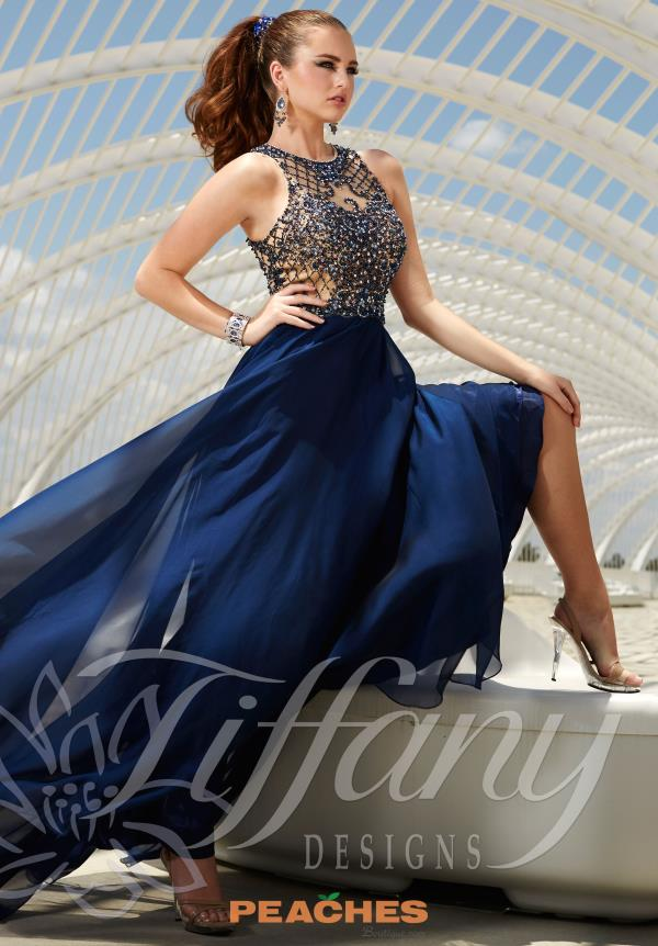 Tiffany Long Navy Chiffon Dress 16157