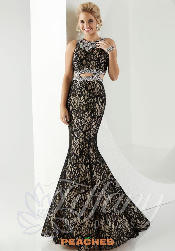 Tiffany Lace Fit and Flare Prom Dress 16179
