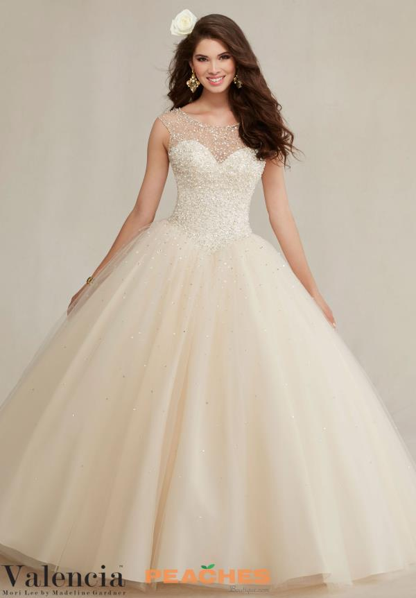 Sleeved Beaded Vizcaya Quinceanera Gown 89081