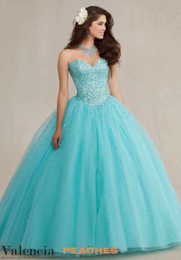 Vizcaya Quinceanera Beaded Aqua Gown 89087