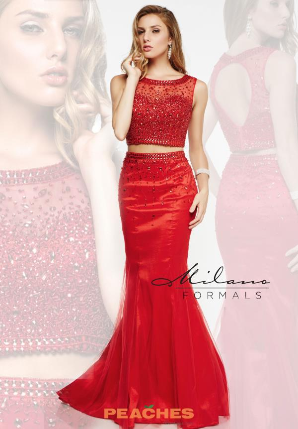 Milano Formals Red Fitted Prom Dress E1922