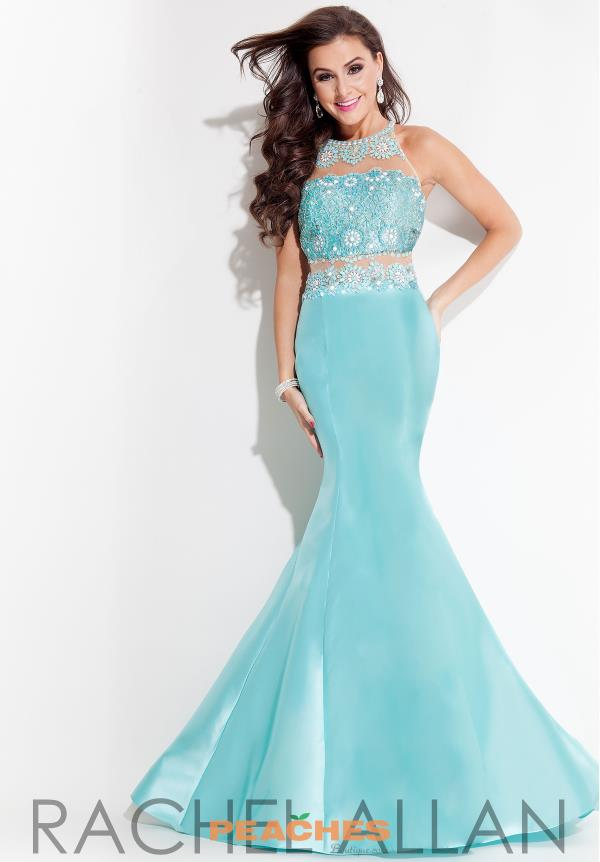 Rachel Allan High Neckline Mermaid Dress 7071
