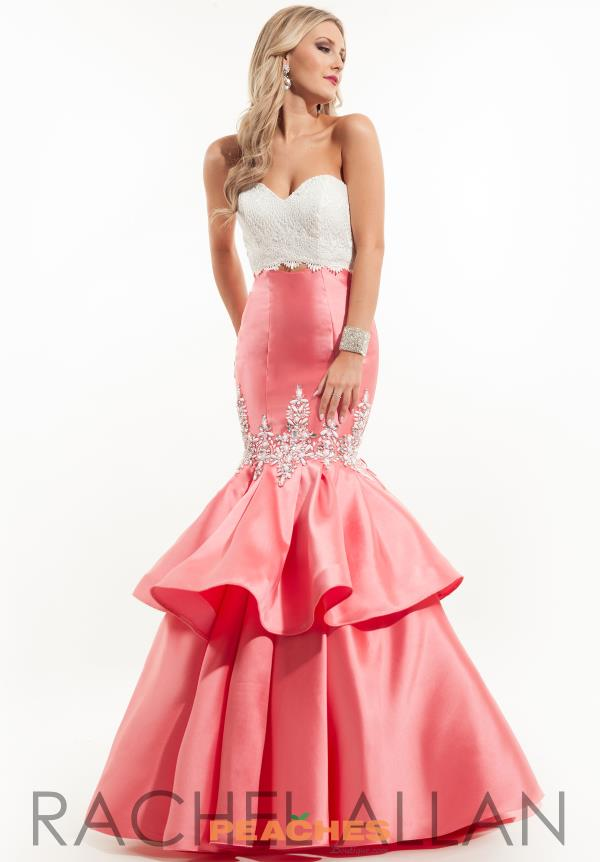 Strapless Mermaid Rachel Allan Coral Dress 7075