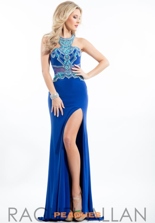 Rachel Allan Aqua Fitted Jersey Dress 7188