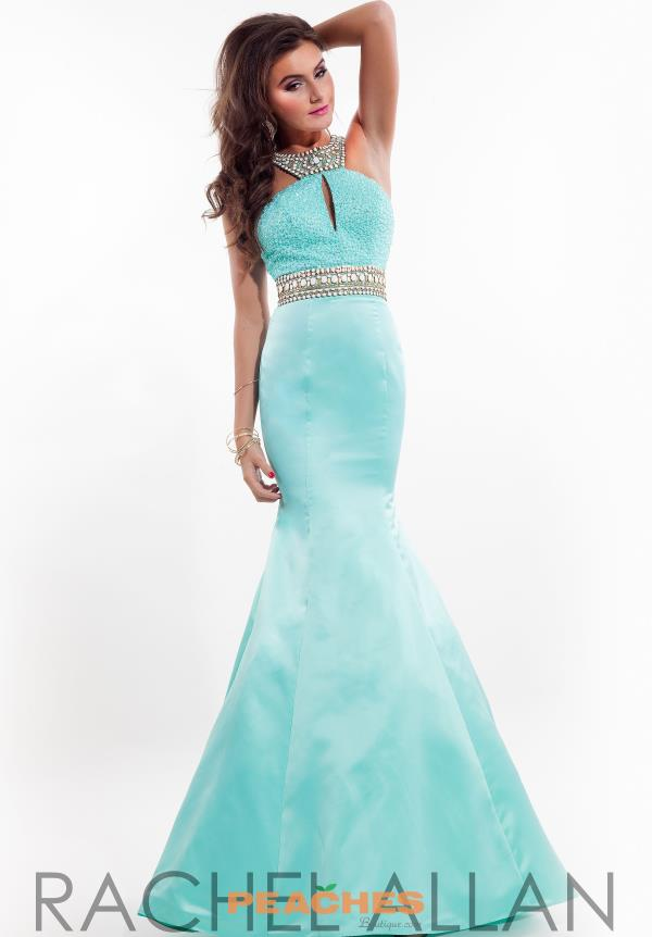 Rachel Allan Aqua Long Beaded Dress 7215