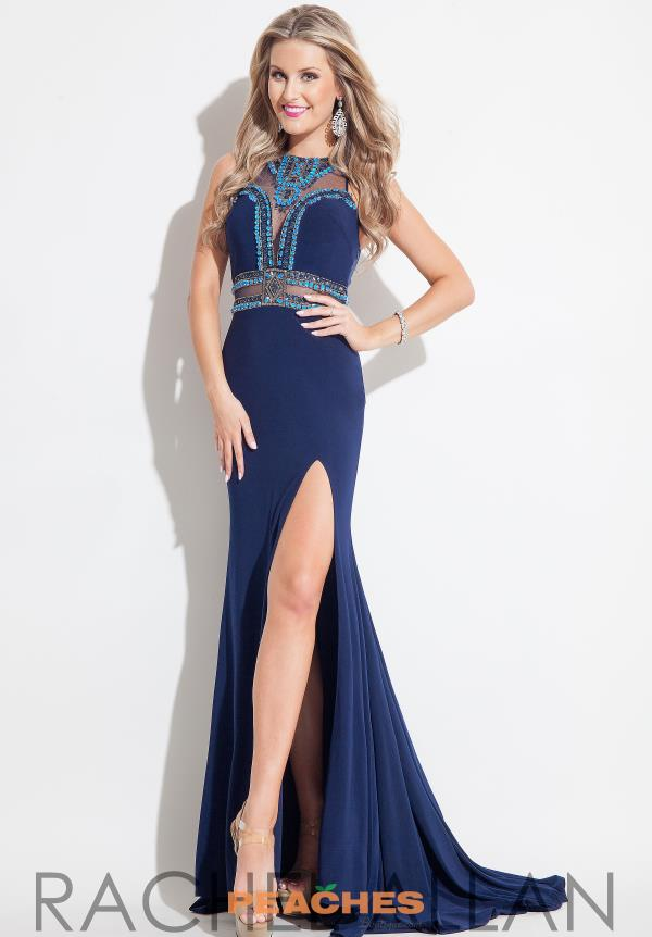 Rachel Allan Beaded Long Navy Dress 7218