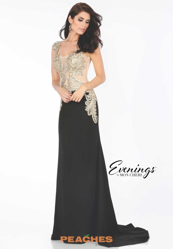 Evenings by Mon Cheri Fitted Black Dress MCE11658
