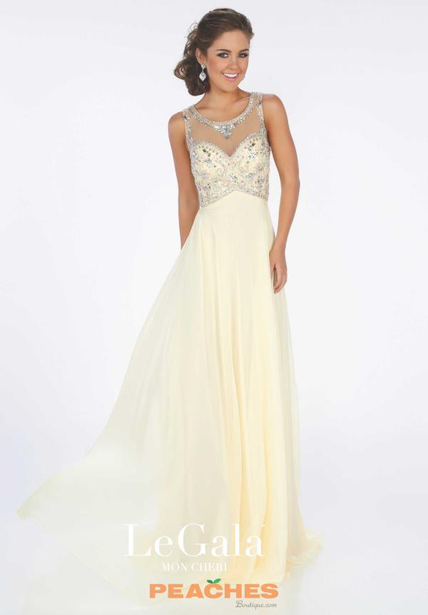 Le Gala Long Chiffon Yellow Dress 116586