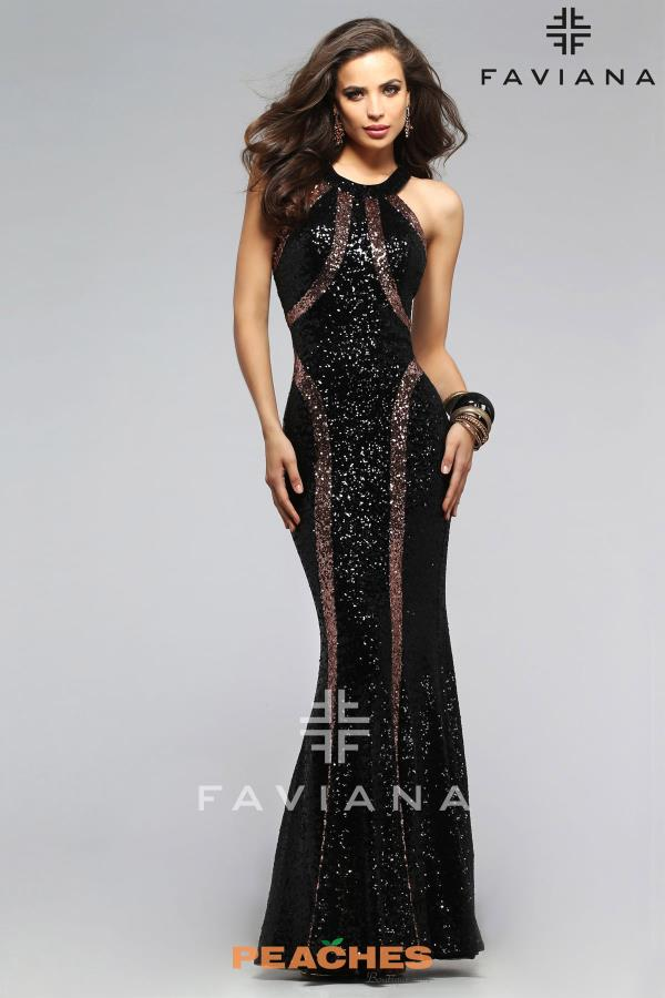 Faviana Fitted Black Dress 7708