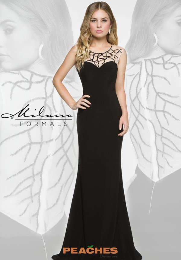 Milano Formals Black Beaded Dress E1858
