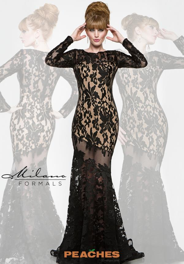 Long Sleeved Lace Milano Formals Dress E1883