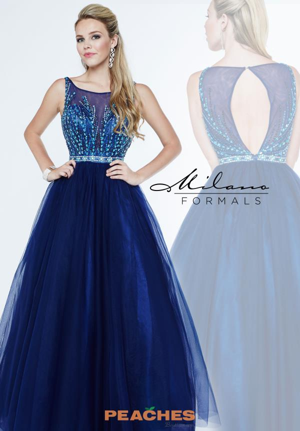 Milano Formals Navy Tulle A Line Dress E1899