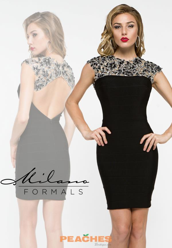 Milano Formals Sleeved Black Dress E1950
