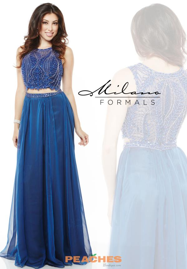 Milano Formals Blue A Line Prom Dress E1958