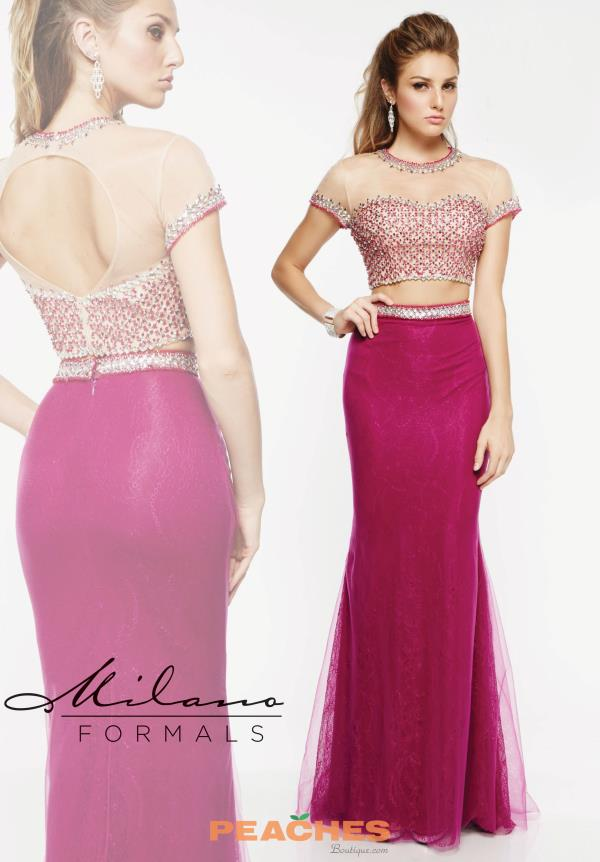 Two Piece Sleeved Milano Formals Dress E1919