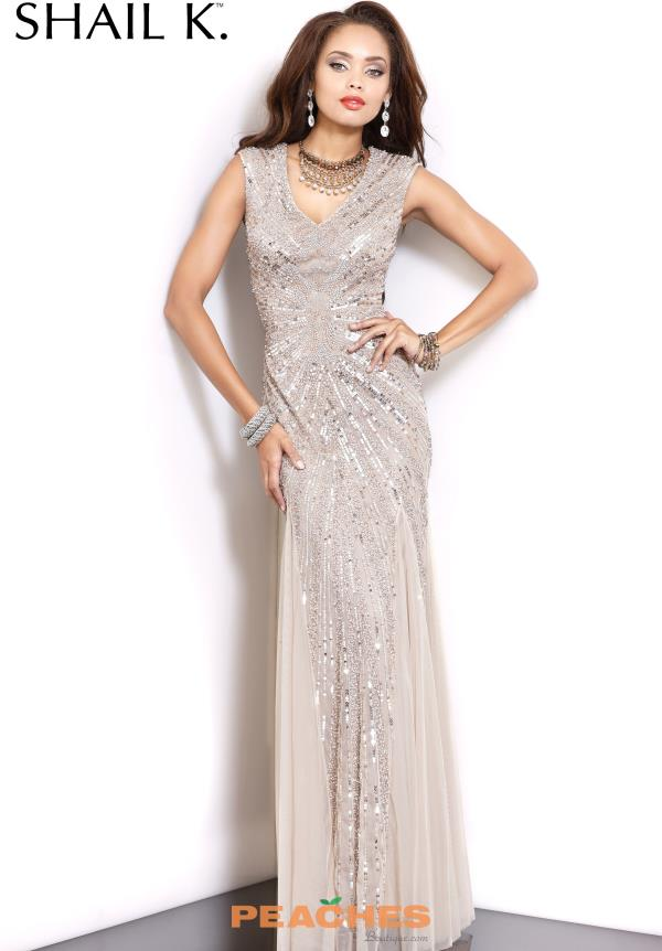 Shail K Beaded Long Prom Dress 3749