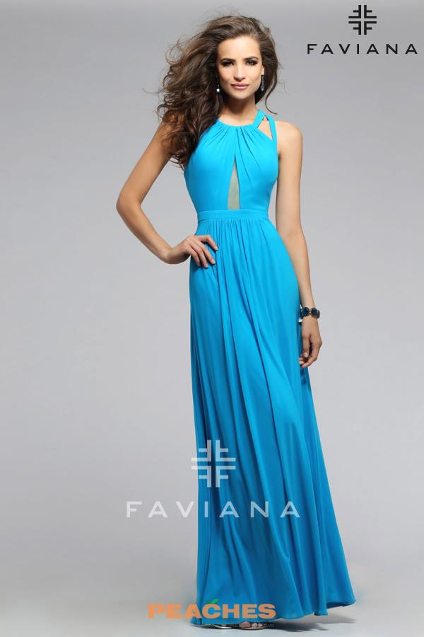 Faviana Cut Out Flowy Dress 7741