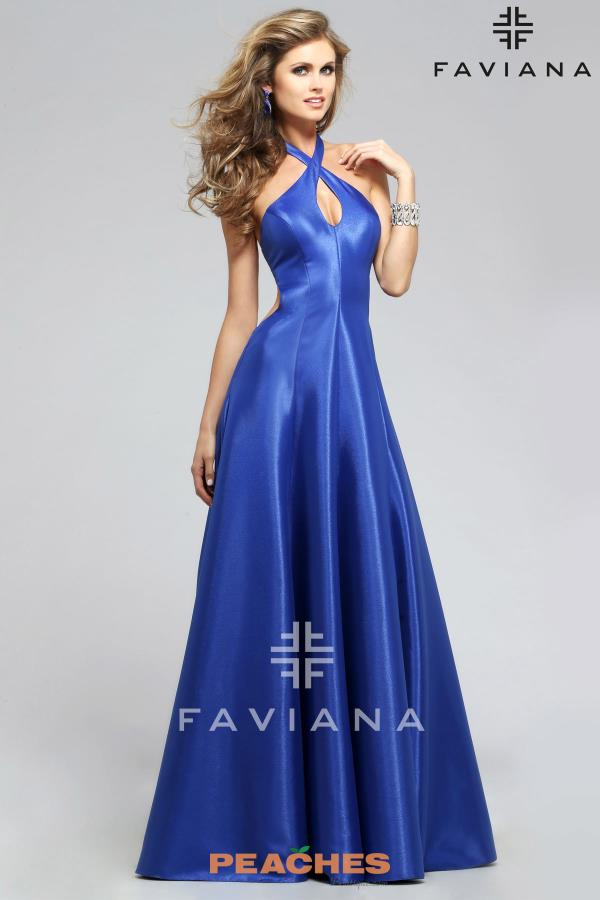 Faviana Halter Top A Line Dress 7754
