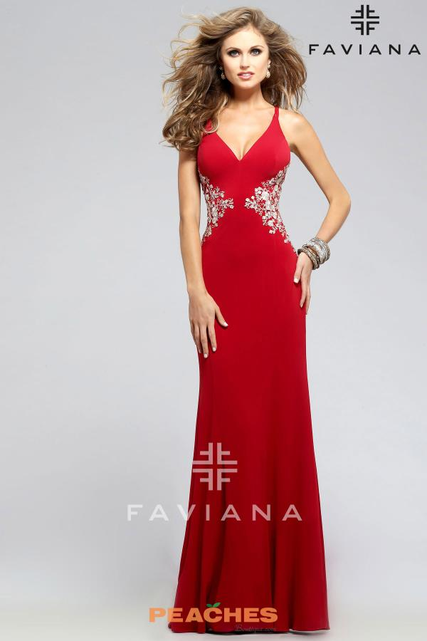 Faviana Lace Back FittedDress 7756