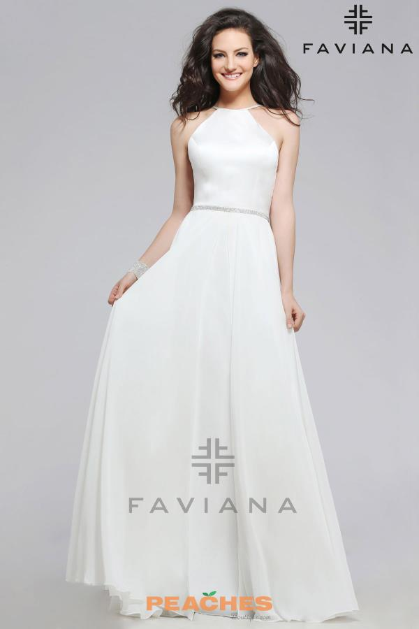 Faviana Open Back A Line Dress 7761