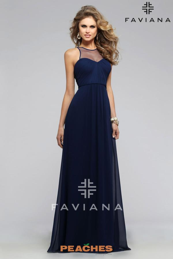 Faviana Chiffon Long Navy Dress 7774