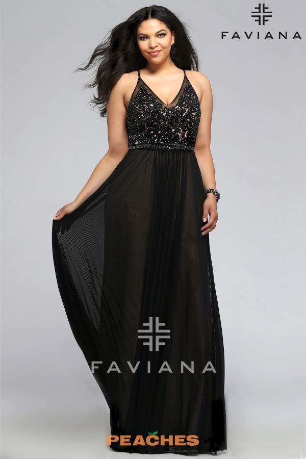 Long Beaded Faviana Dress 9373