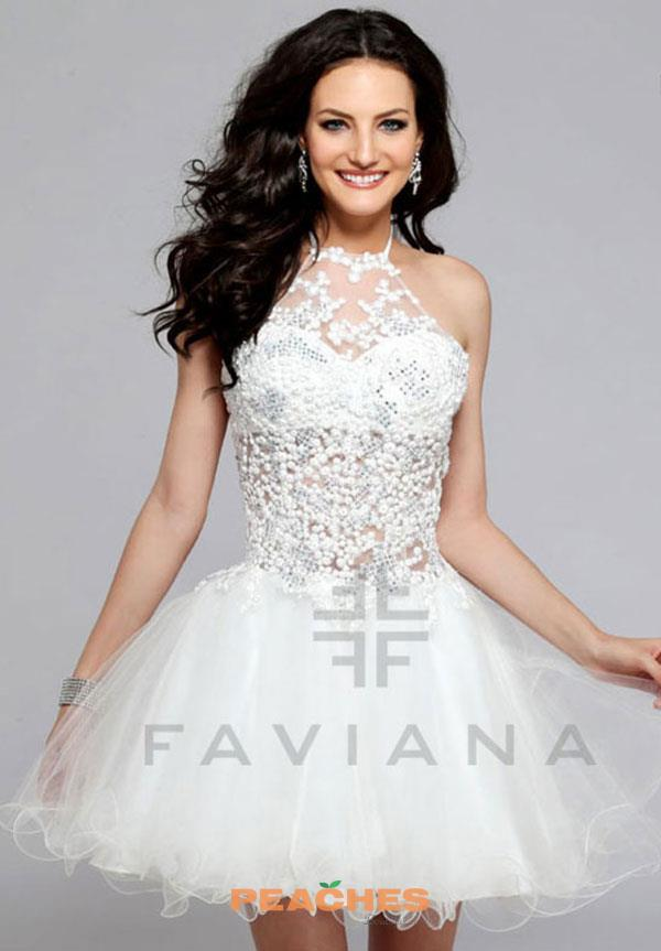 Faviana Halter Top Beaded Reception Dress S7818