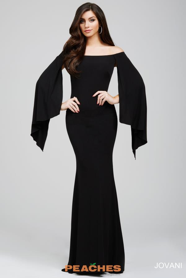 Jovani Long Cape Sleeve Fitted Navy Dress 21799