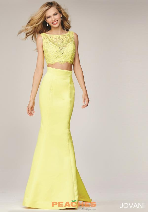 Fitted Two Piece Jovani Yellow Dress 24073