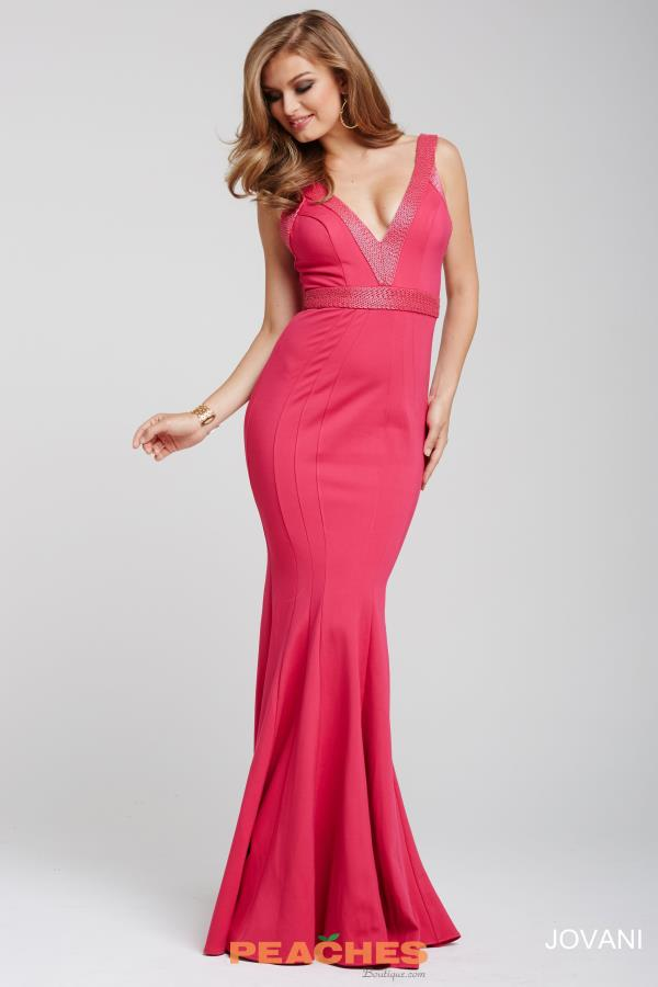 Jovani V- Neckline Fitted Dress 28718