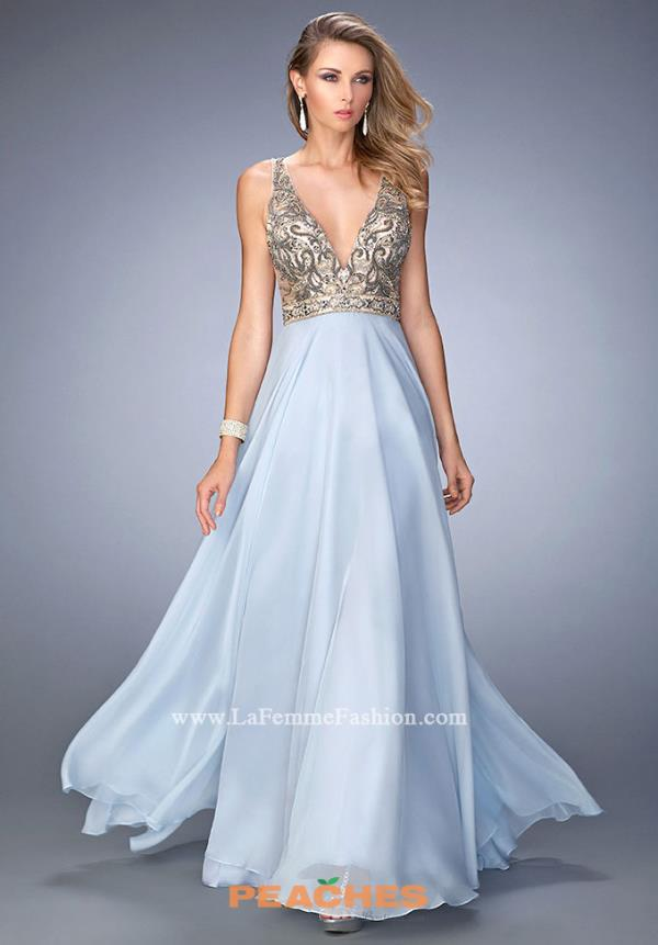 Gigi V- Neckline Blue Dress 22725