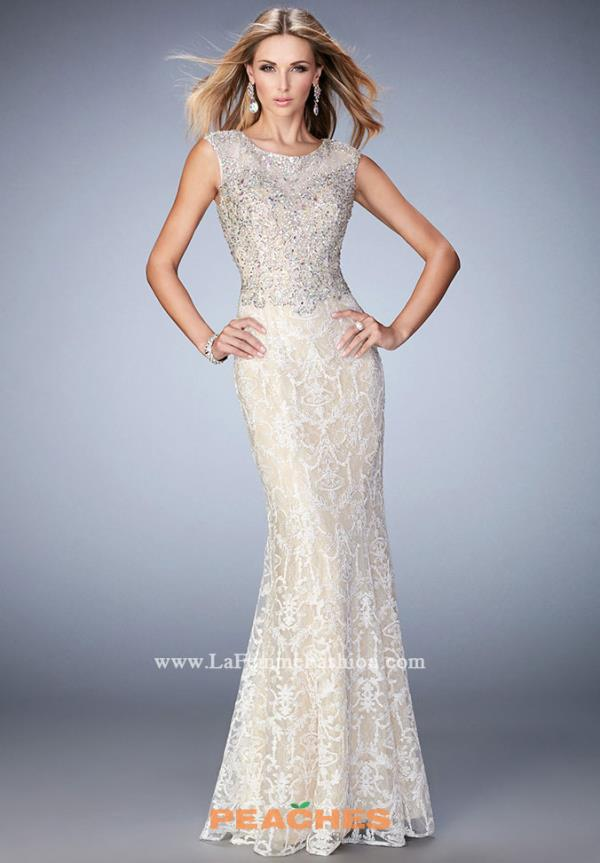 Gigi White Beaded Nude Dress 22934