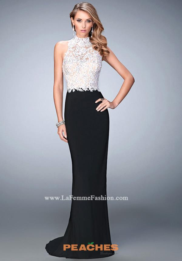 La Femme Black Fitted Evening Gown 21837