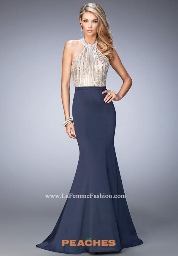 Long Navy Satin La Femme High Halter Dress 22177