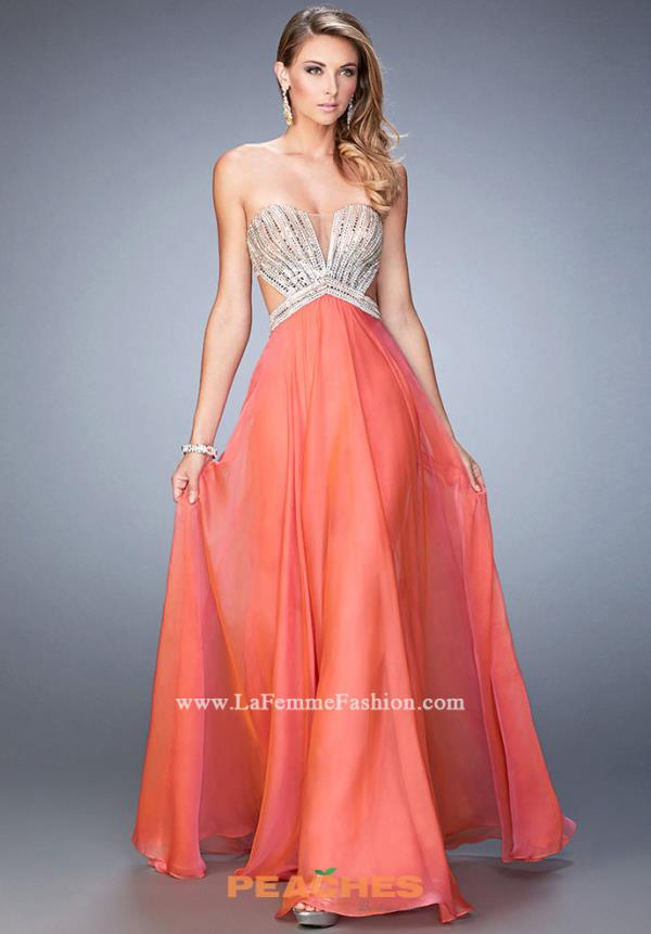 Strapless Beaded La Femme Dress 22179