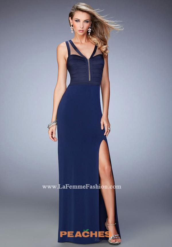 Long Fitted La Femme Dress 22301