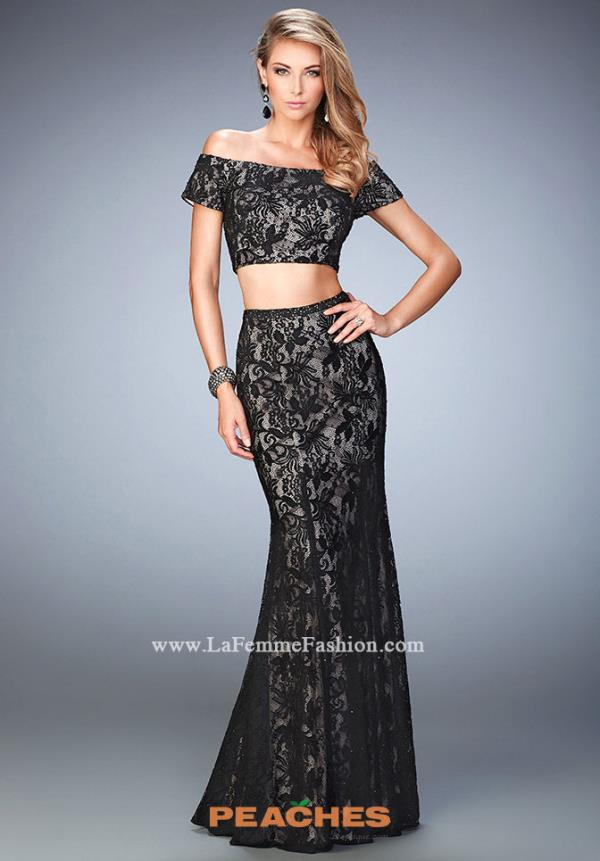 La Femme Black Fitted Dress 22317