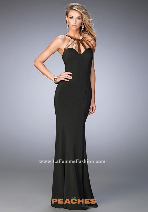 La Femme Jersey Beaded Dress 22329