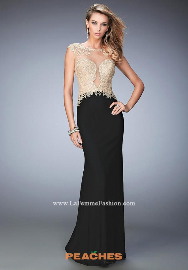 La Femme Beaded Black Dress 22349