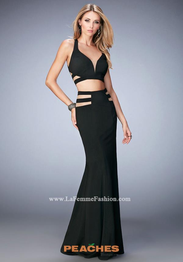 Two Piece Black La Femme Prom Dress 22367