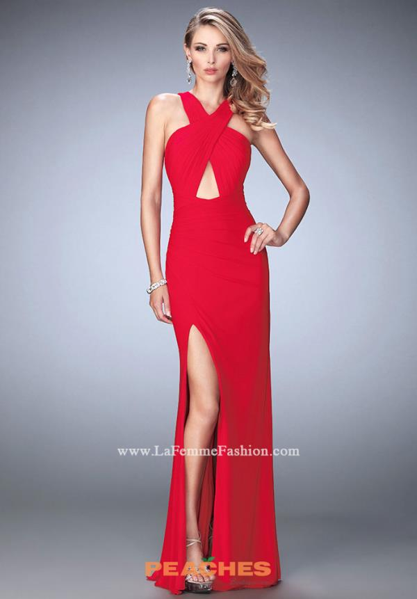 Long Fitted La Femme Dress 22380