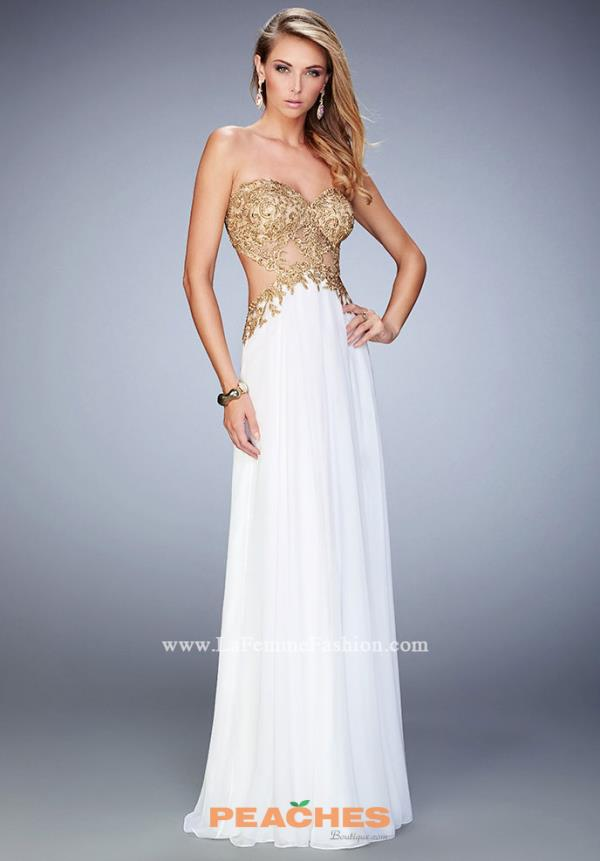 La Femme Beaded Strapless Dress 22504