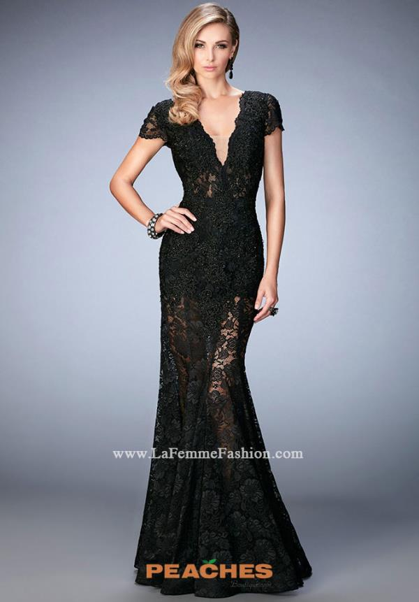 La Femme Sleeved Black Dress 22738