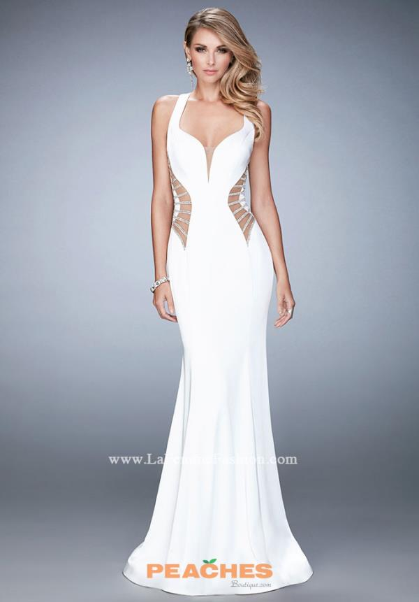 La Femme Fitted White Prom Dress 22742